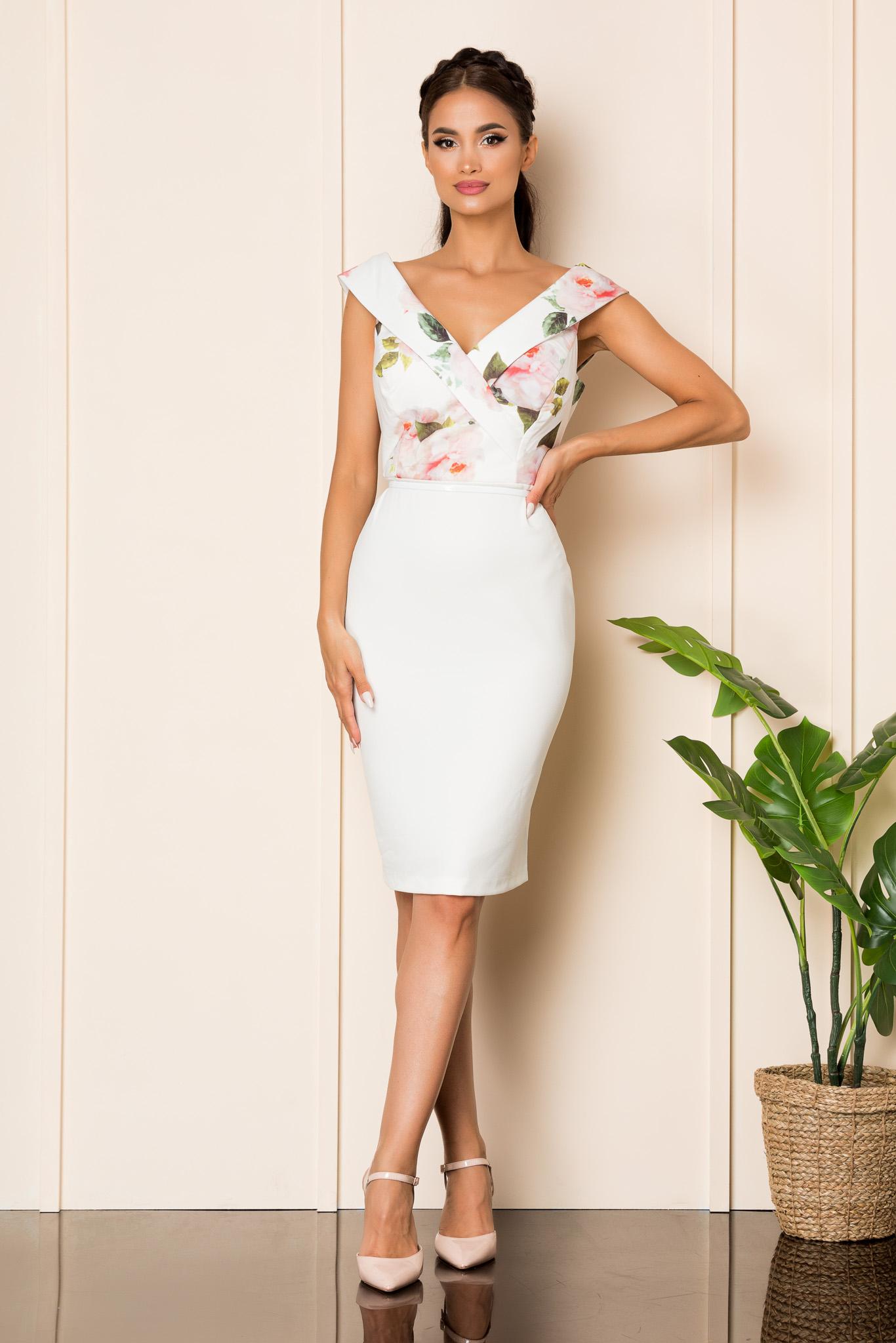 Rochie Carlia Alb Floral