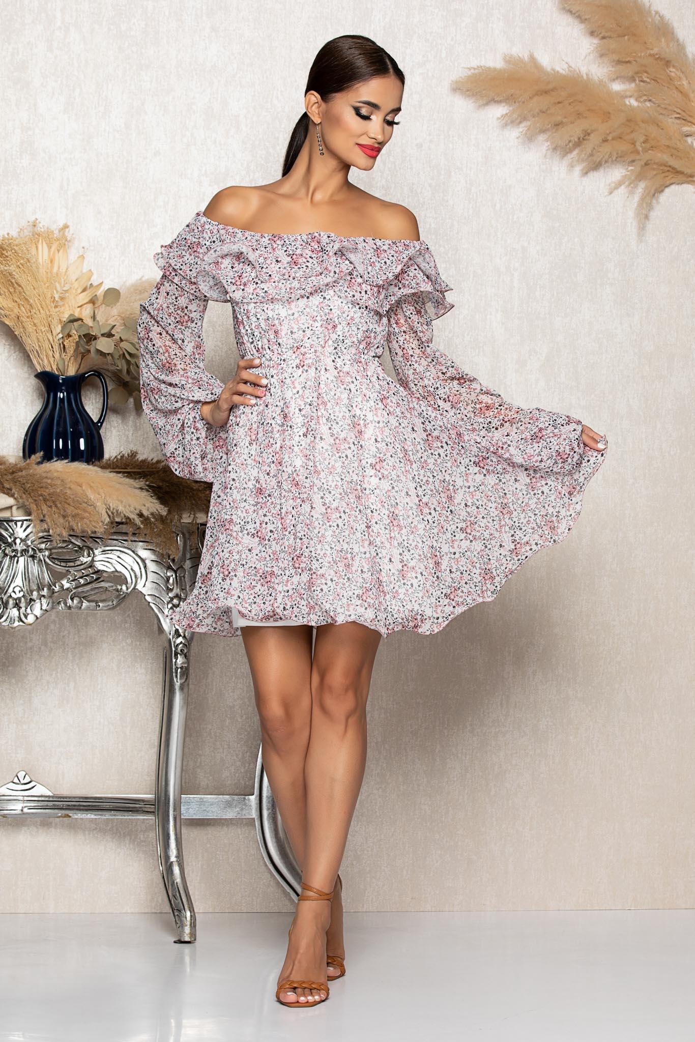Rochie Yrene Alb Roz Floral