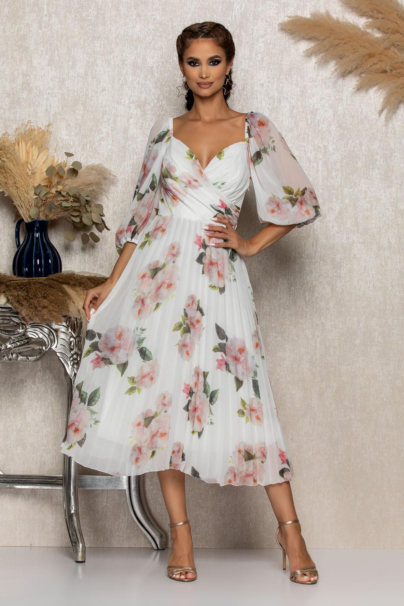 Rochie Tiffany Alb Floral