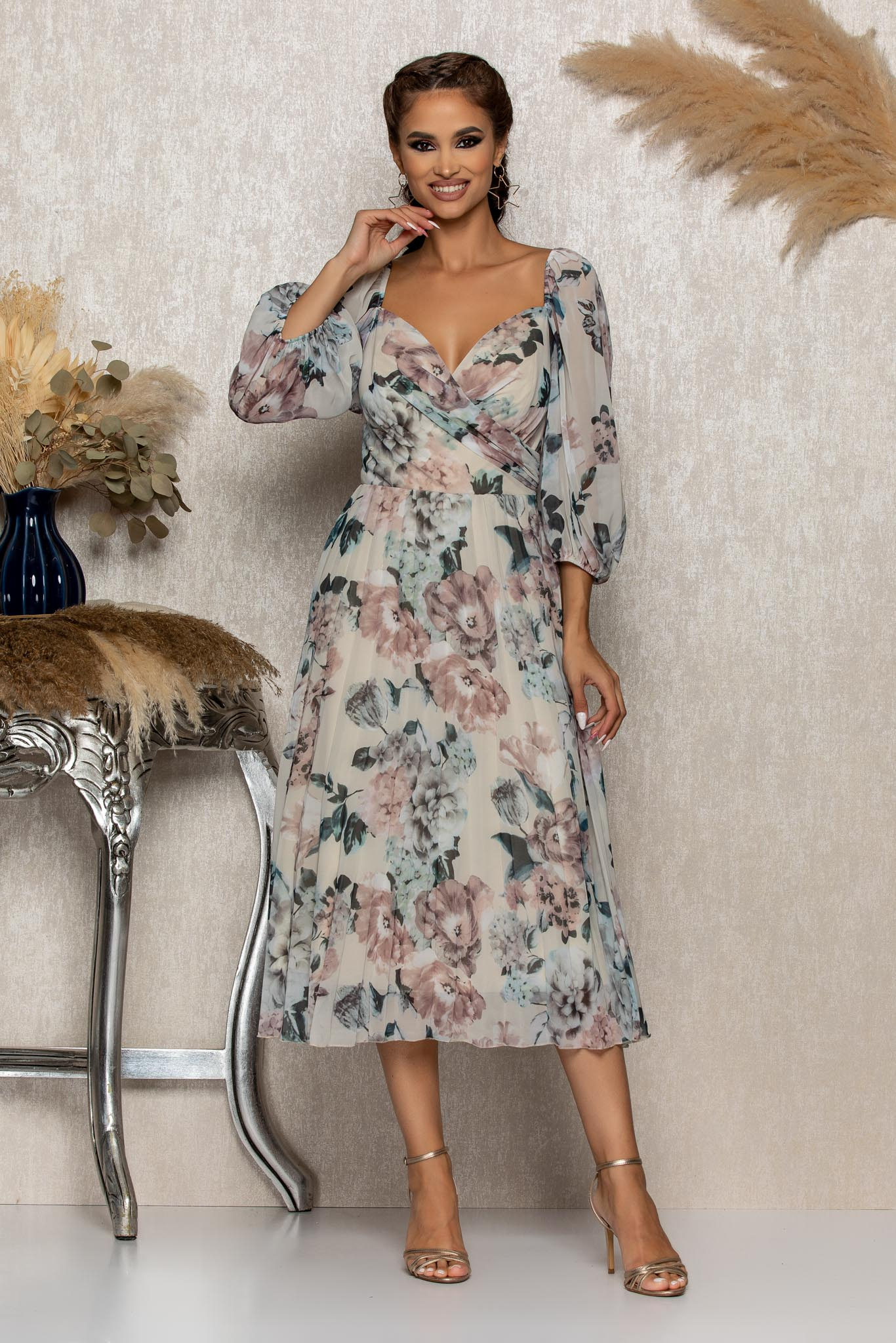Rochie Tiffany Nude Floral