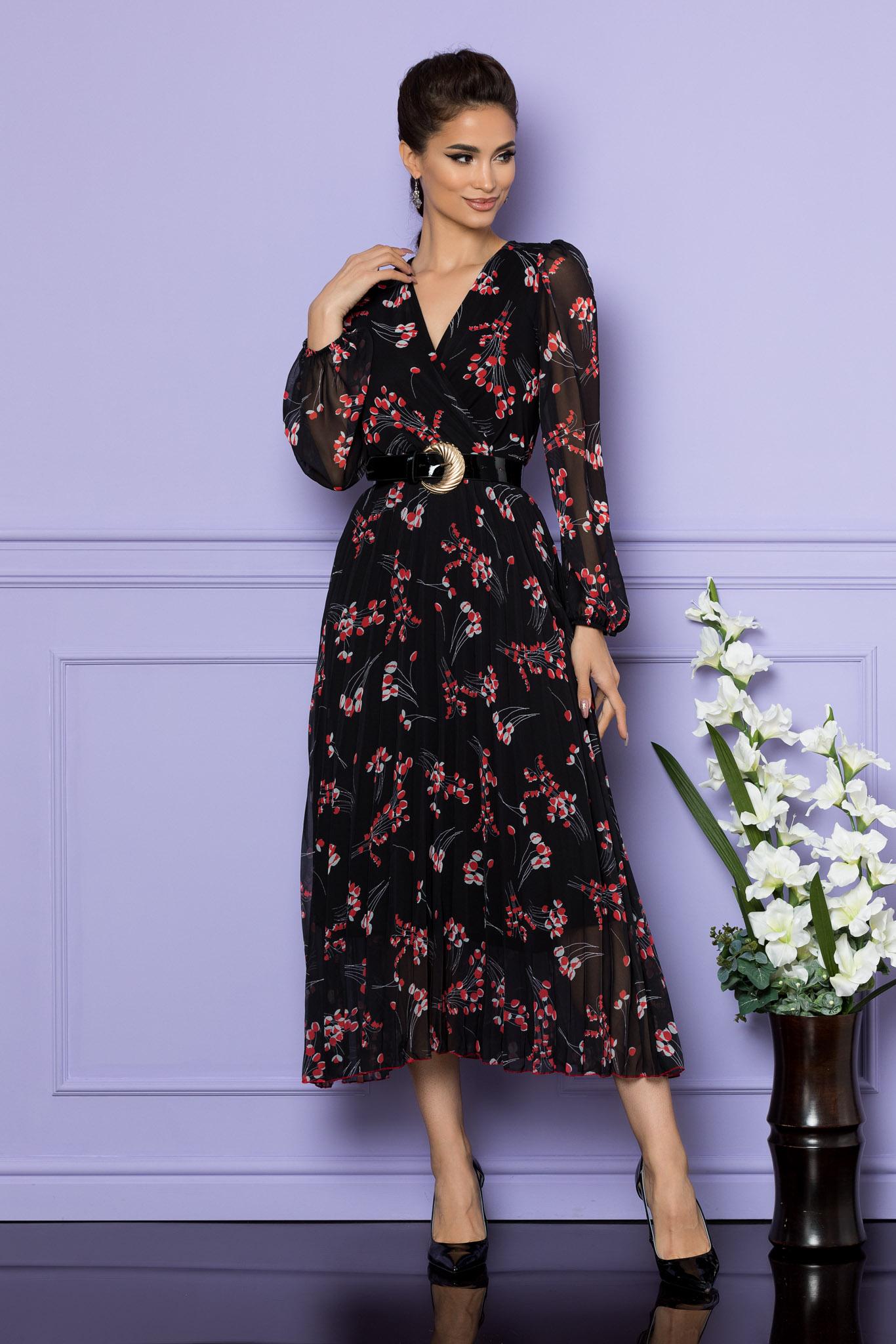 Rochie Ingrid Negru Rosu Floral