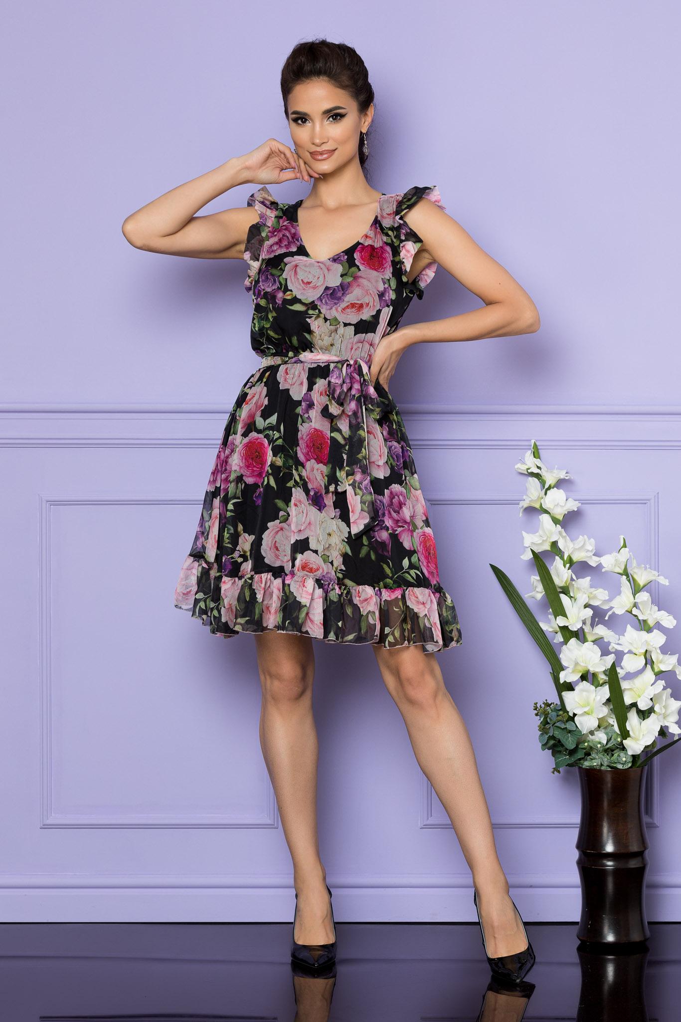 Rochie Sunny Negru Multi Floral