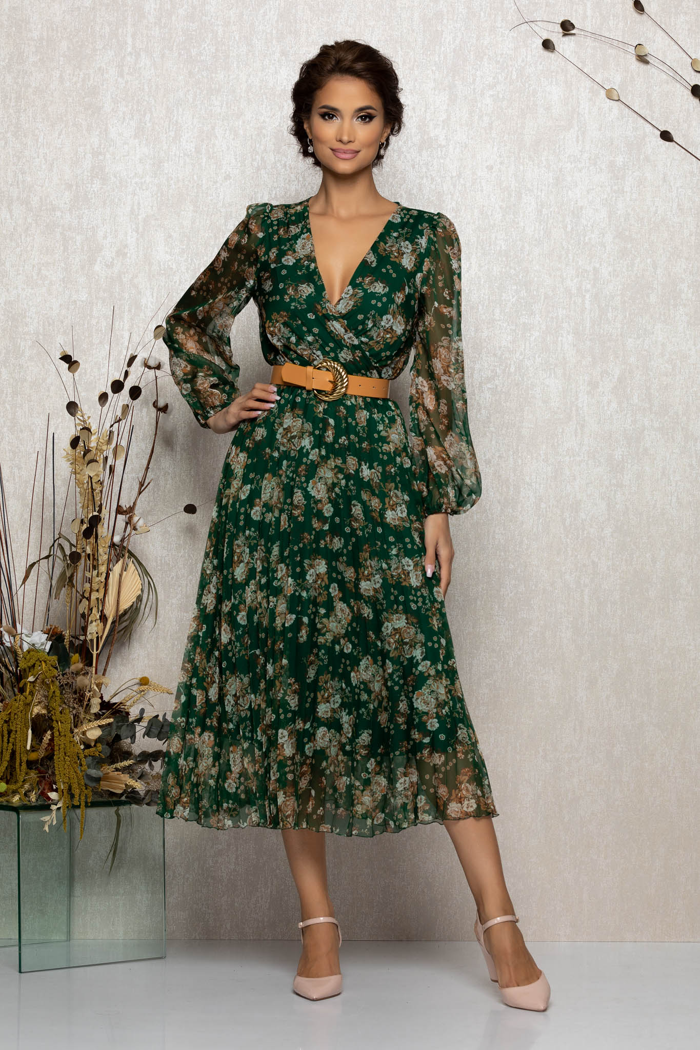 Rochie Ingrid Verde Multi Floral