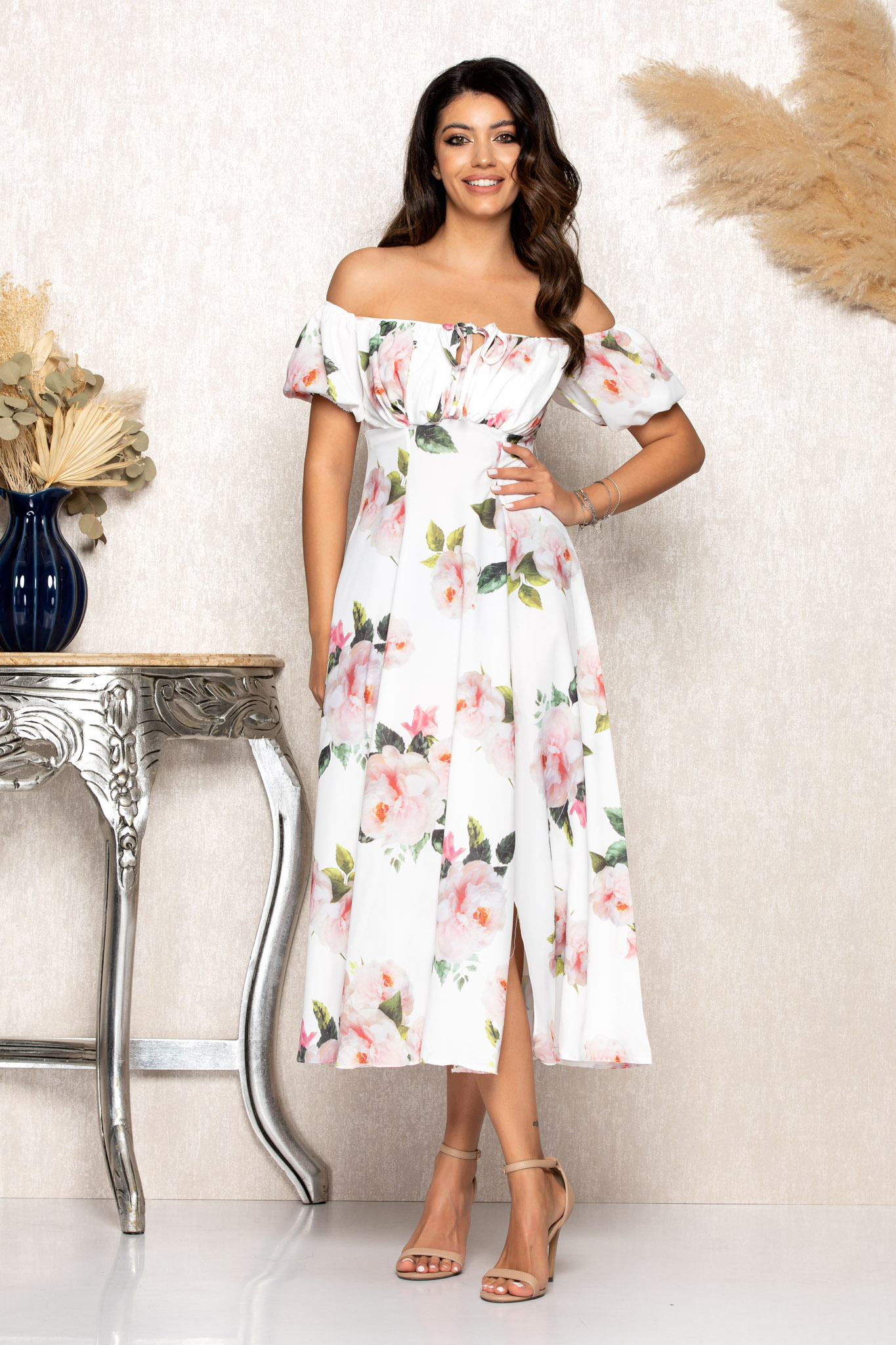 Rochie Rory Alb Floral