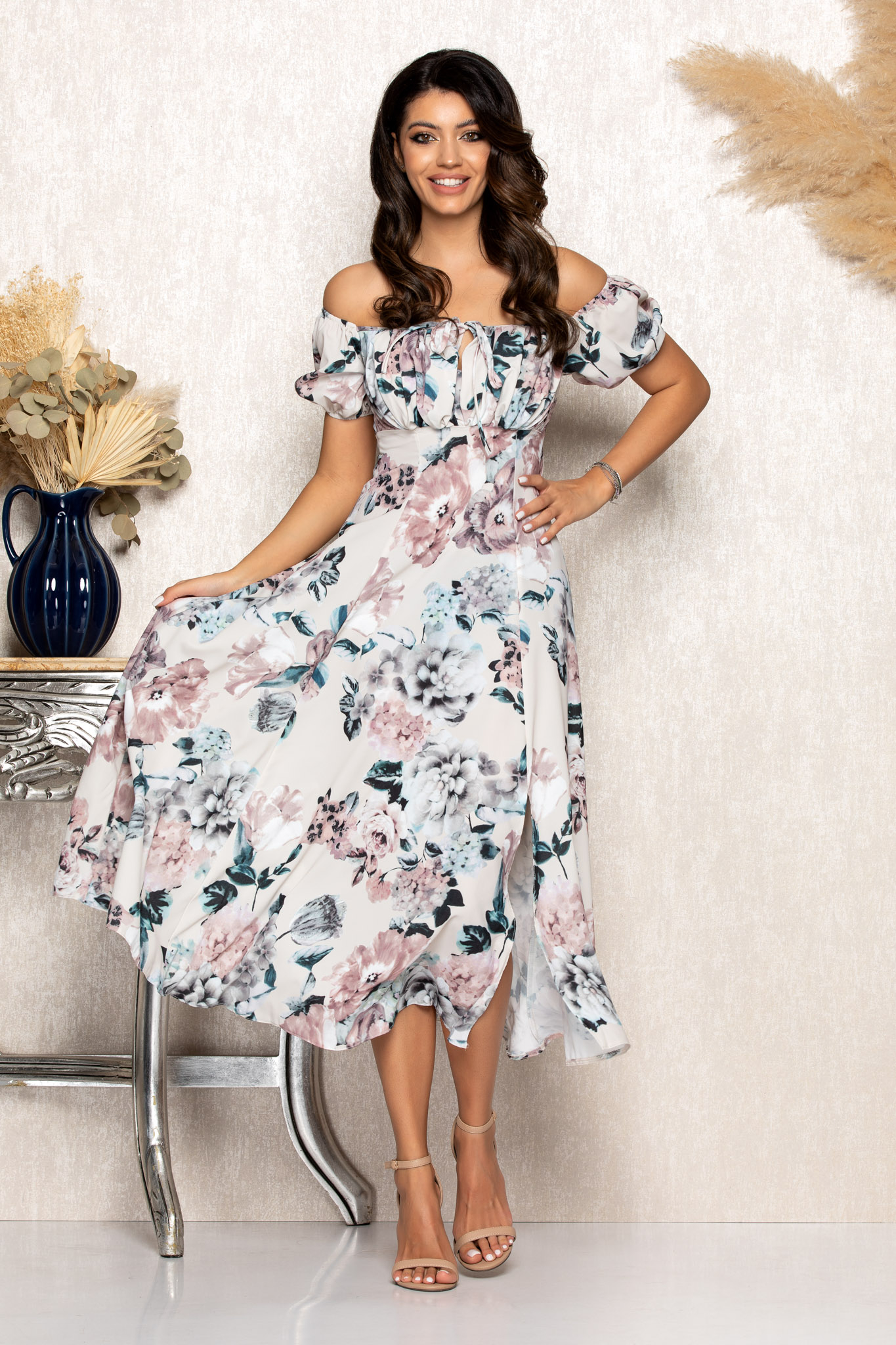 Rochie Rory Nude Floral