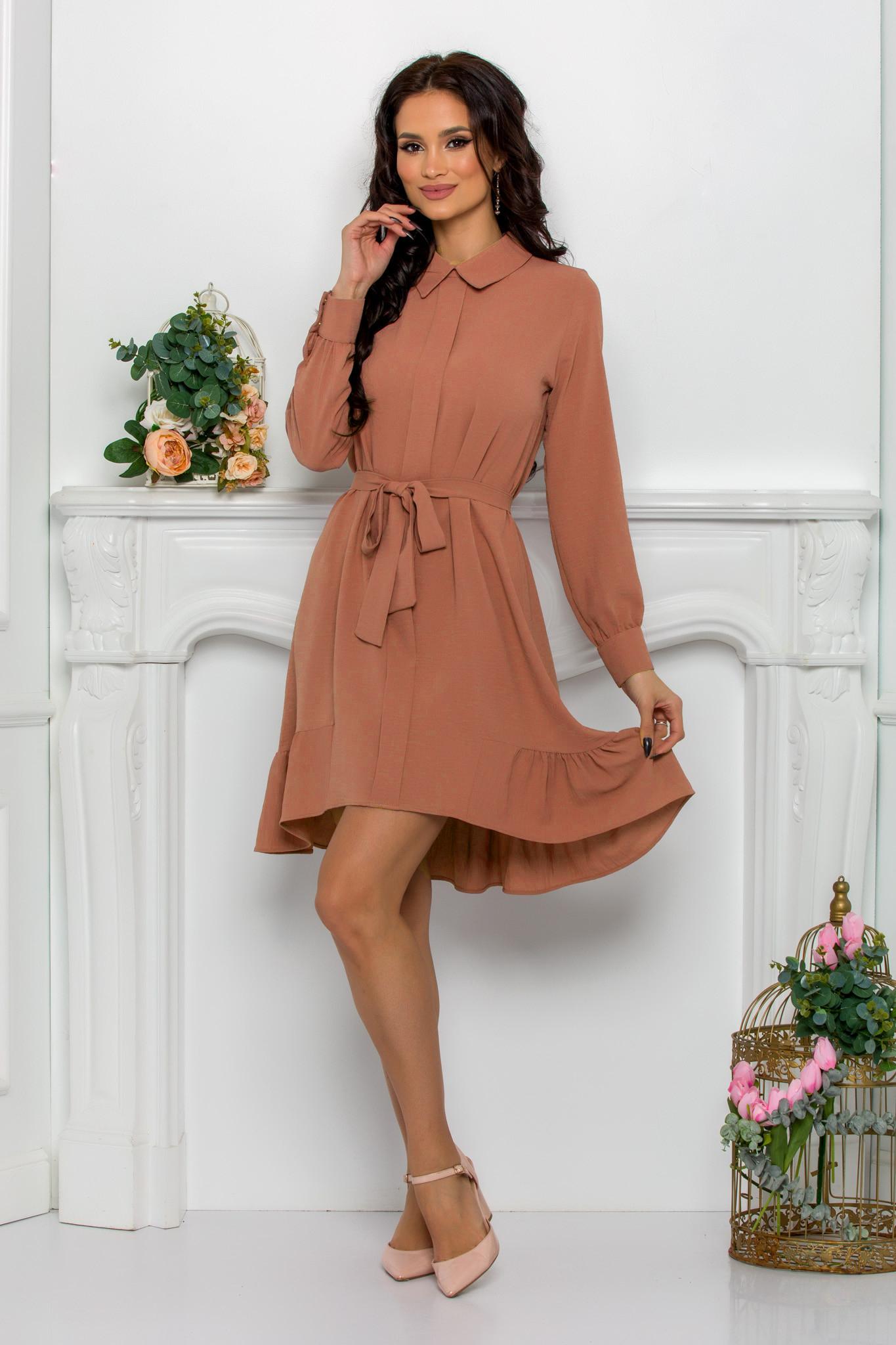 rochie casual elaganta asimetrica caramel