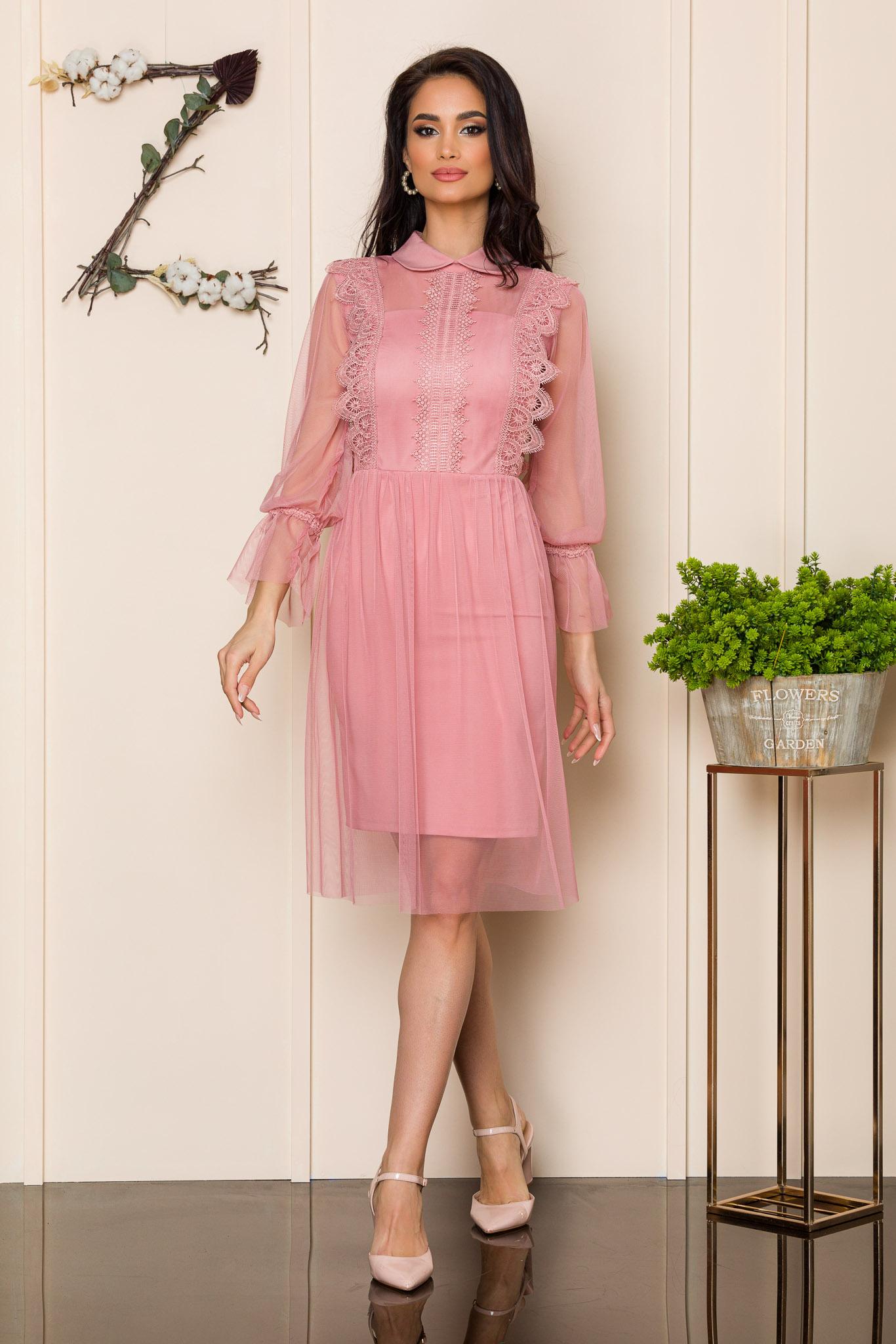 rochie de ocazie rose cu tull 2