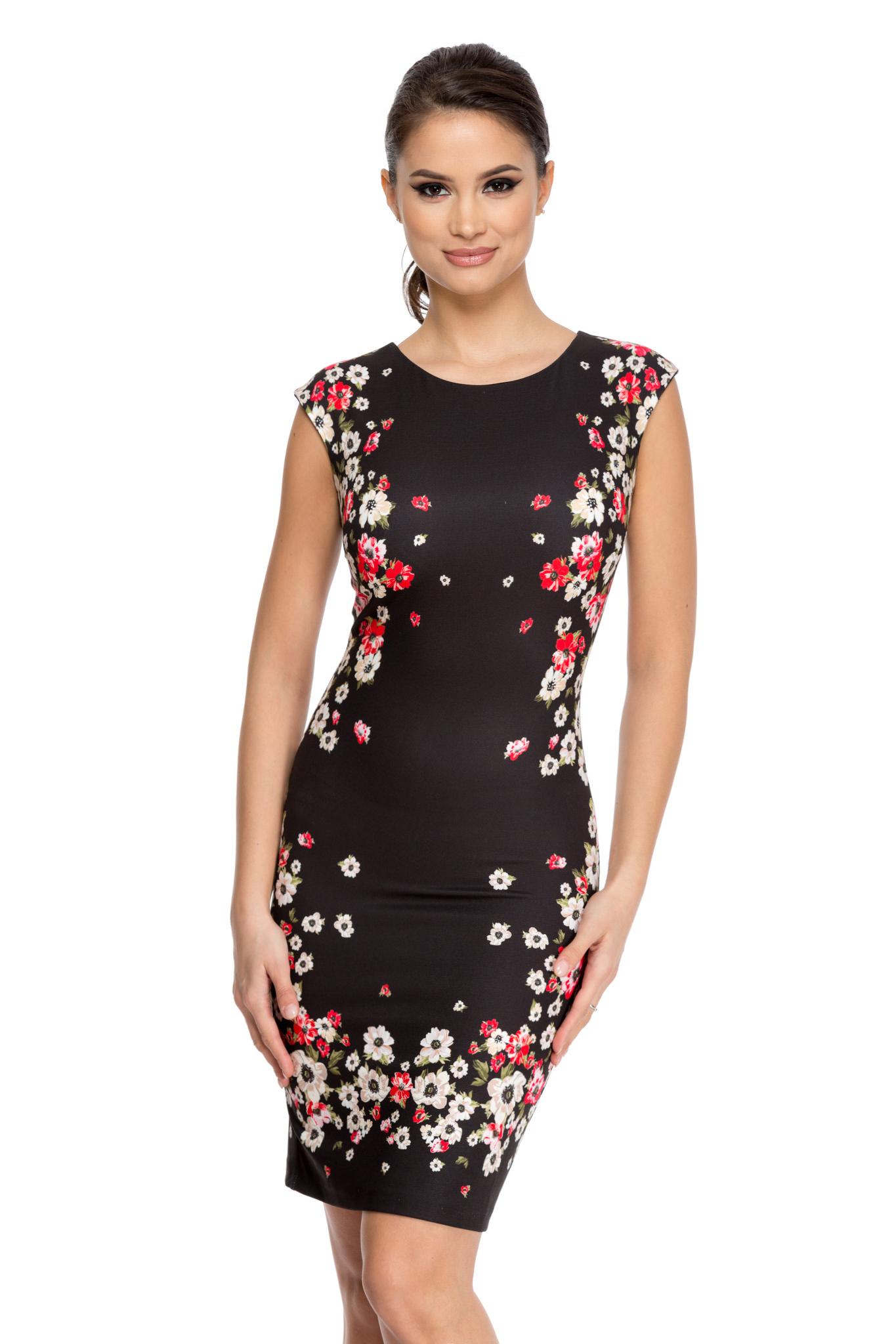rochie fleurs neagra