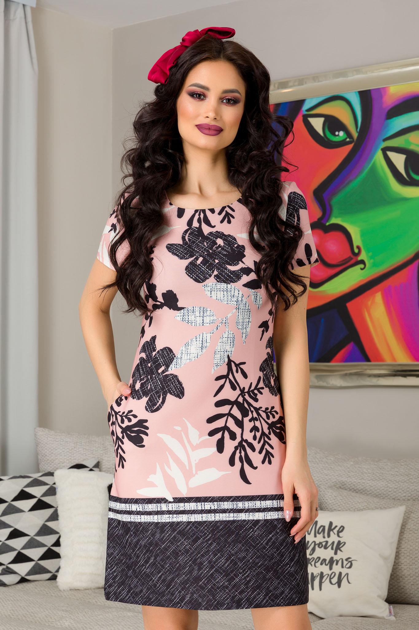 Rochie Naylin Rose - rochie de zi scurta roz cu imprimeu - Rochie Naylin Rose