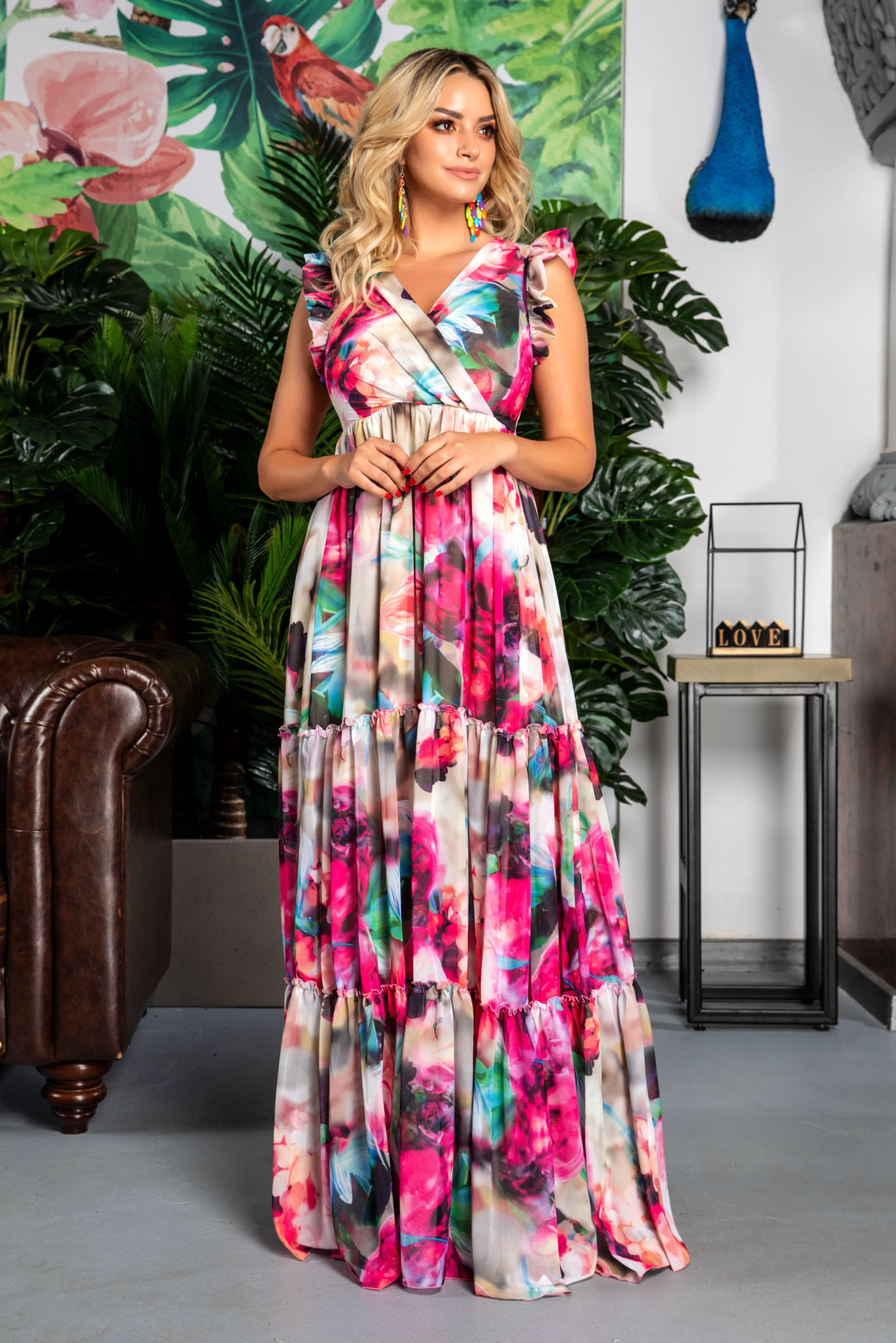 Rochie Evelyn Ciclam Pastel