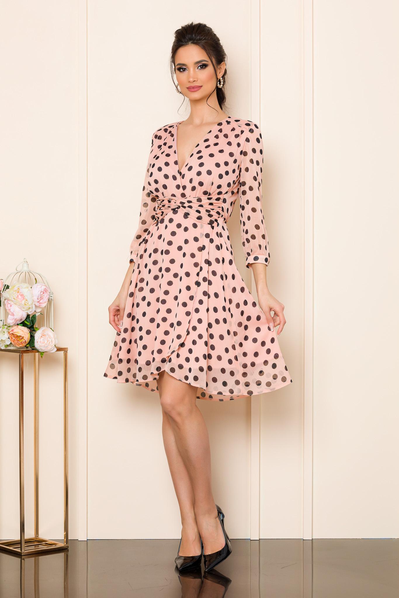 rochie eleganta din voal cu buline 2
