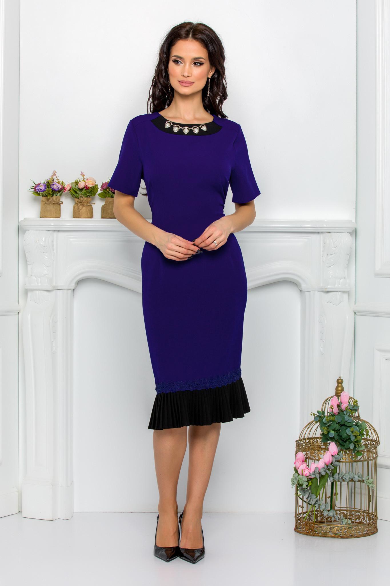 rochie eleganta midi bleumarin