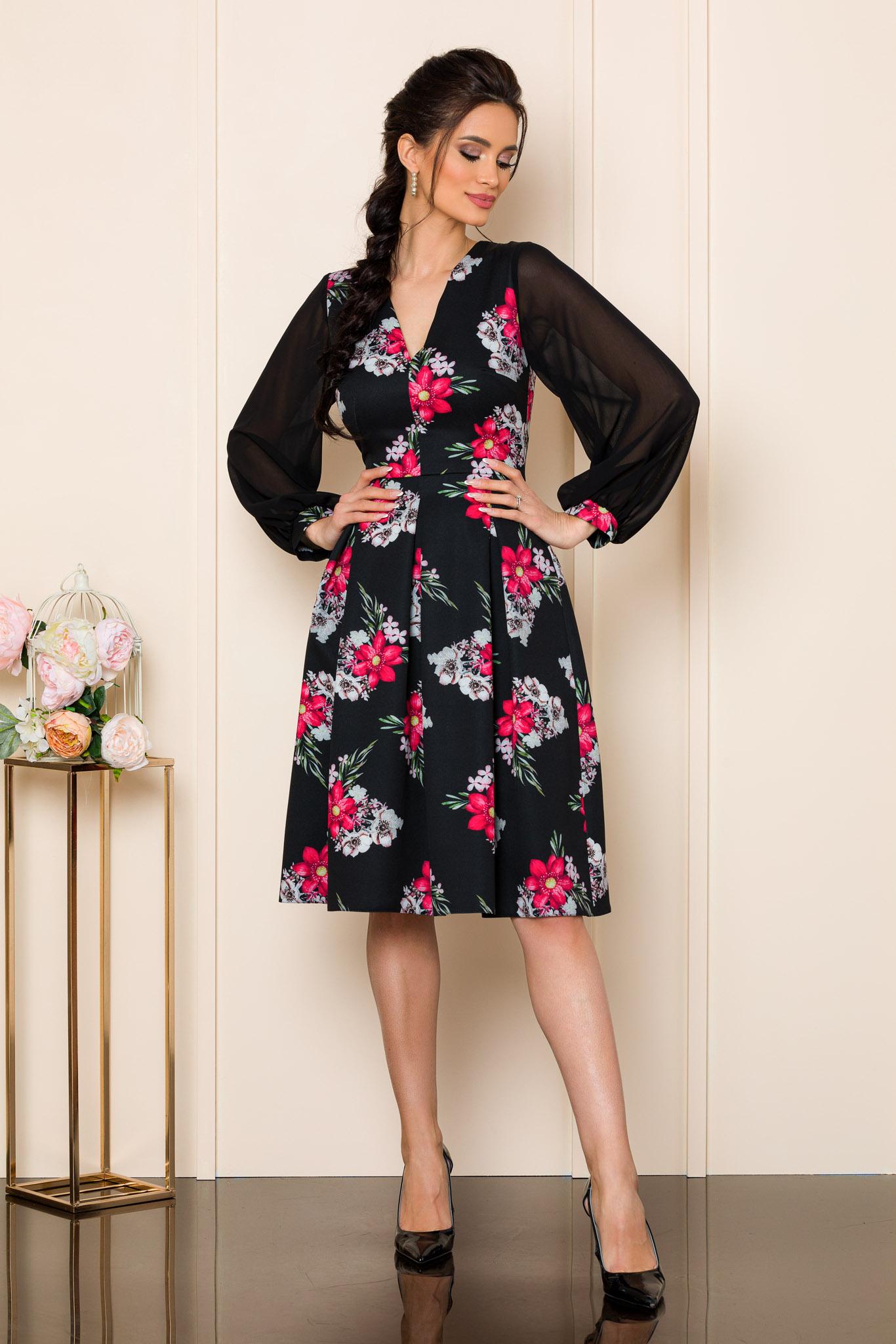 rochie eleganta midi cu imprimeu floral 2 3