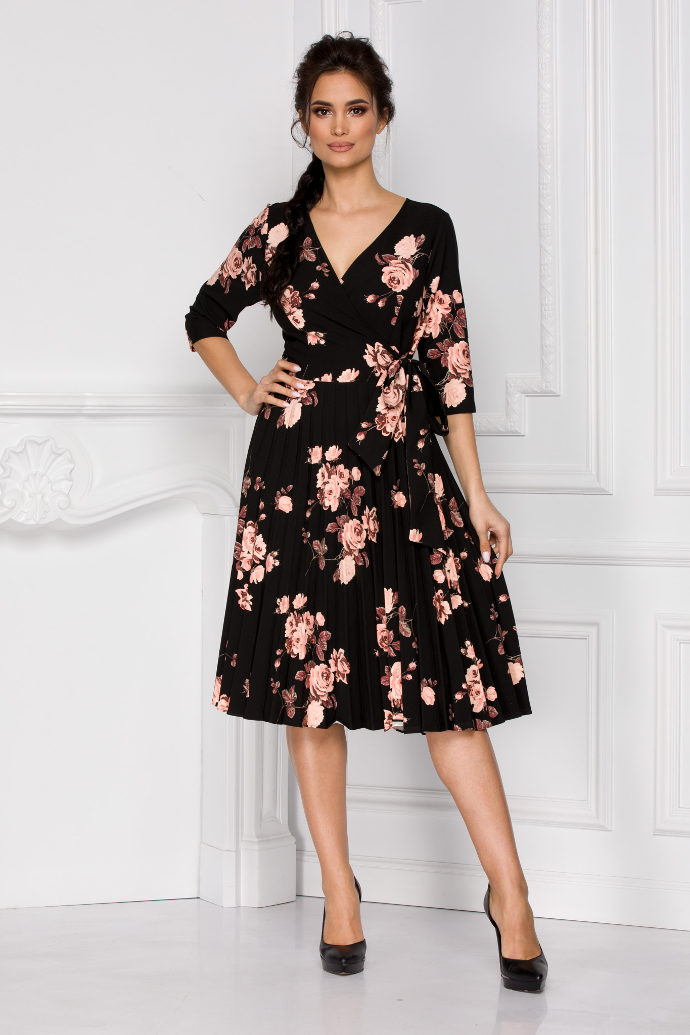Rochie Floreal Neagra