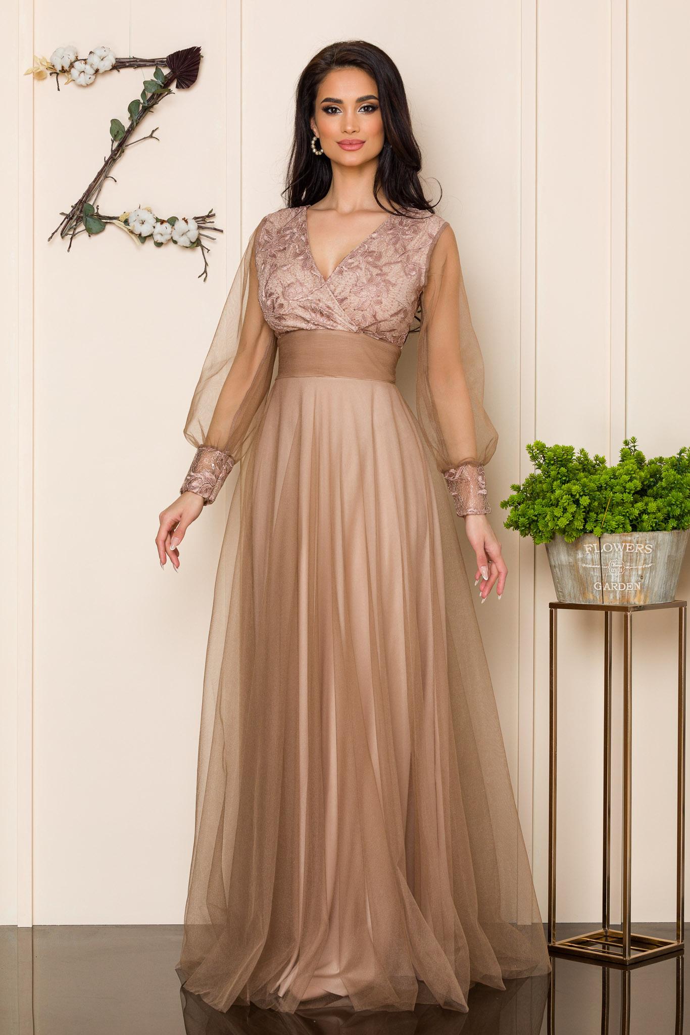 rochie lunga de ocazie bej din tull 2