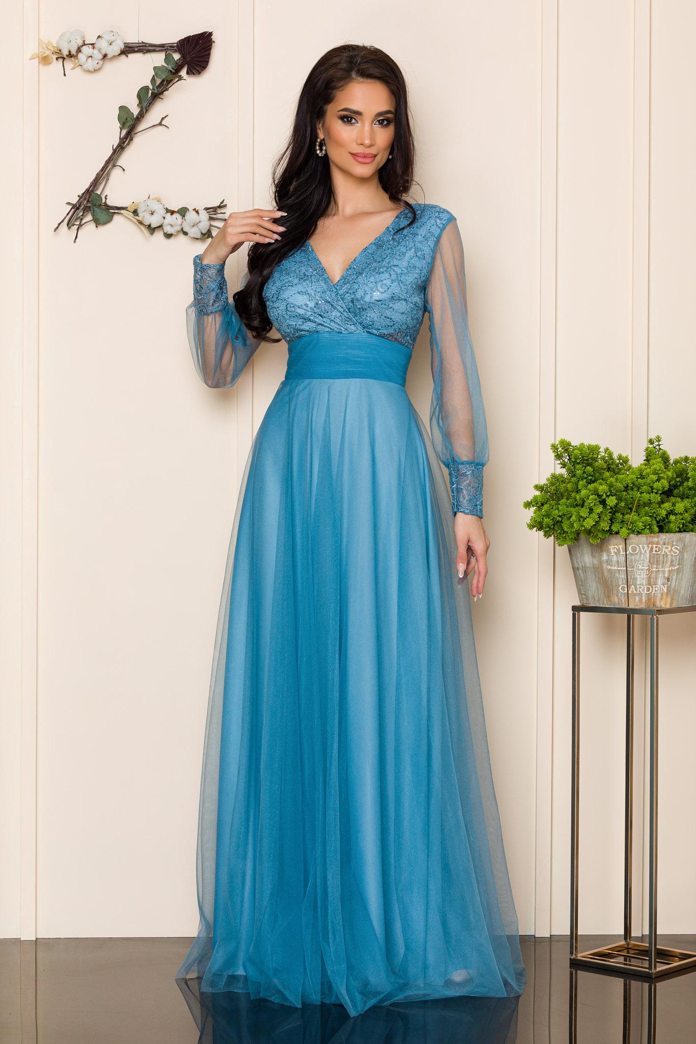 rochie lunga de ocazie bleu din tull 2