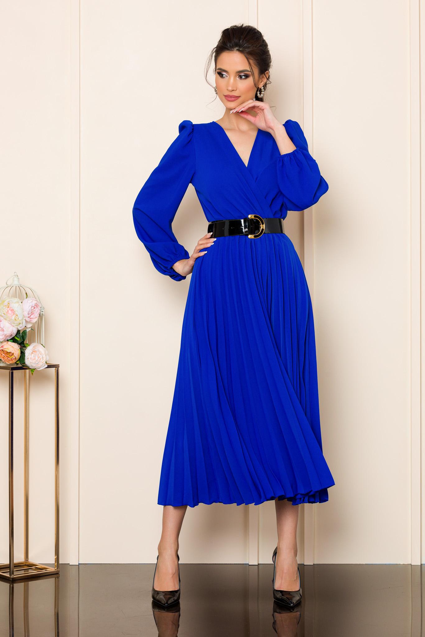 rochie midi eleganta albastra cu pliuri 2 2