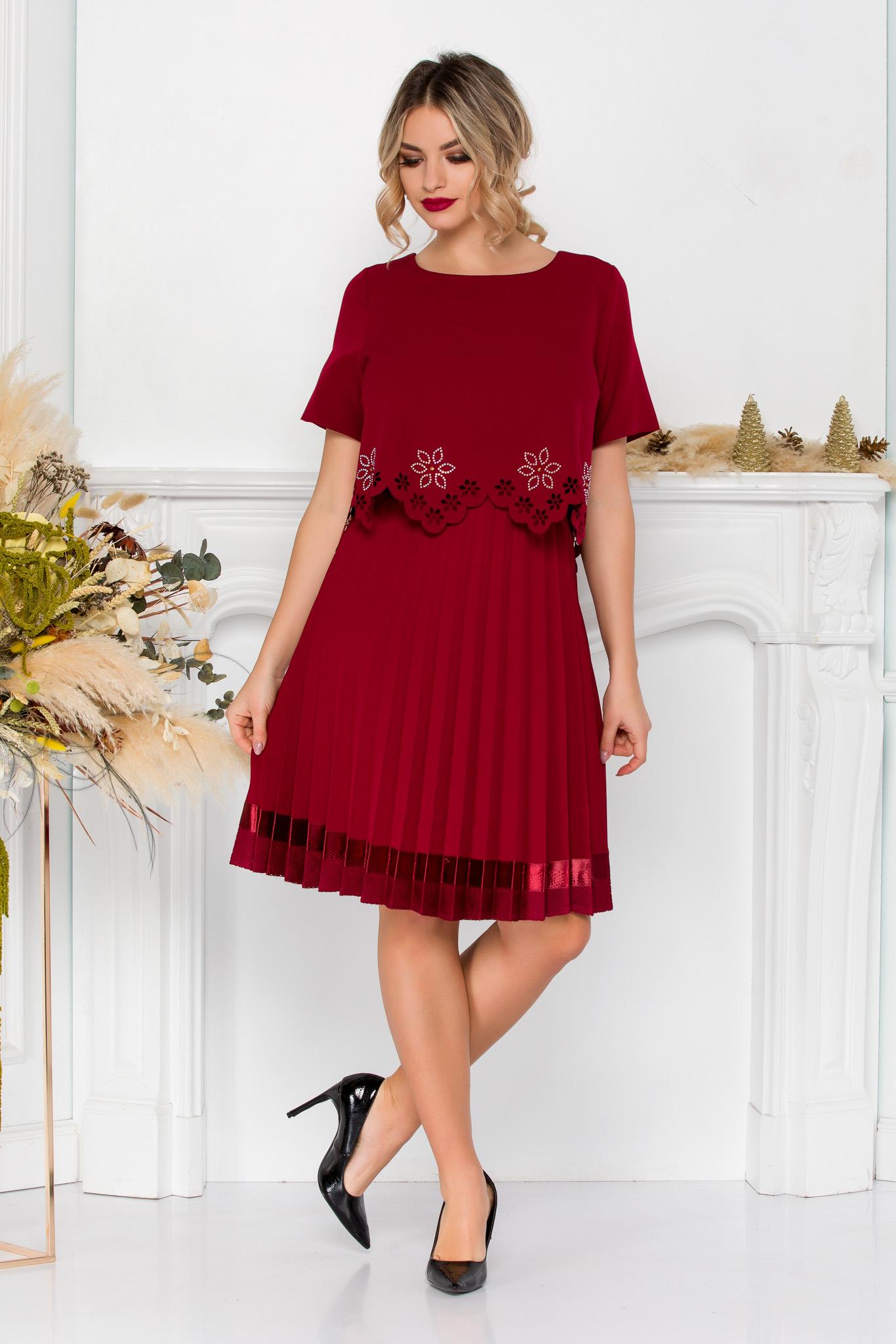 rochie midi eleganta bordo cu pliuri 6