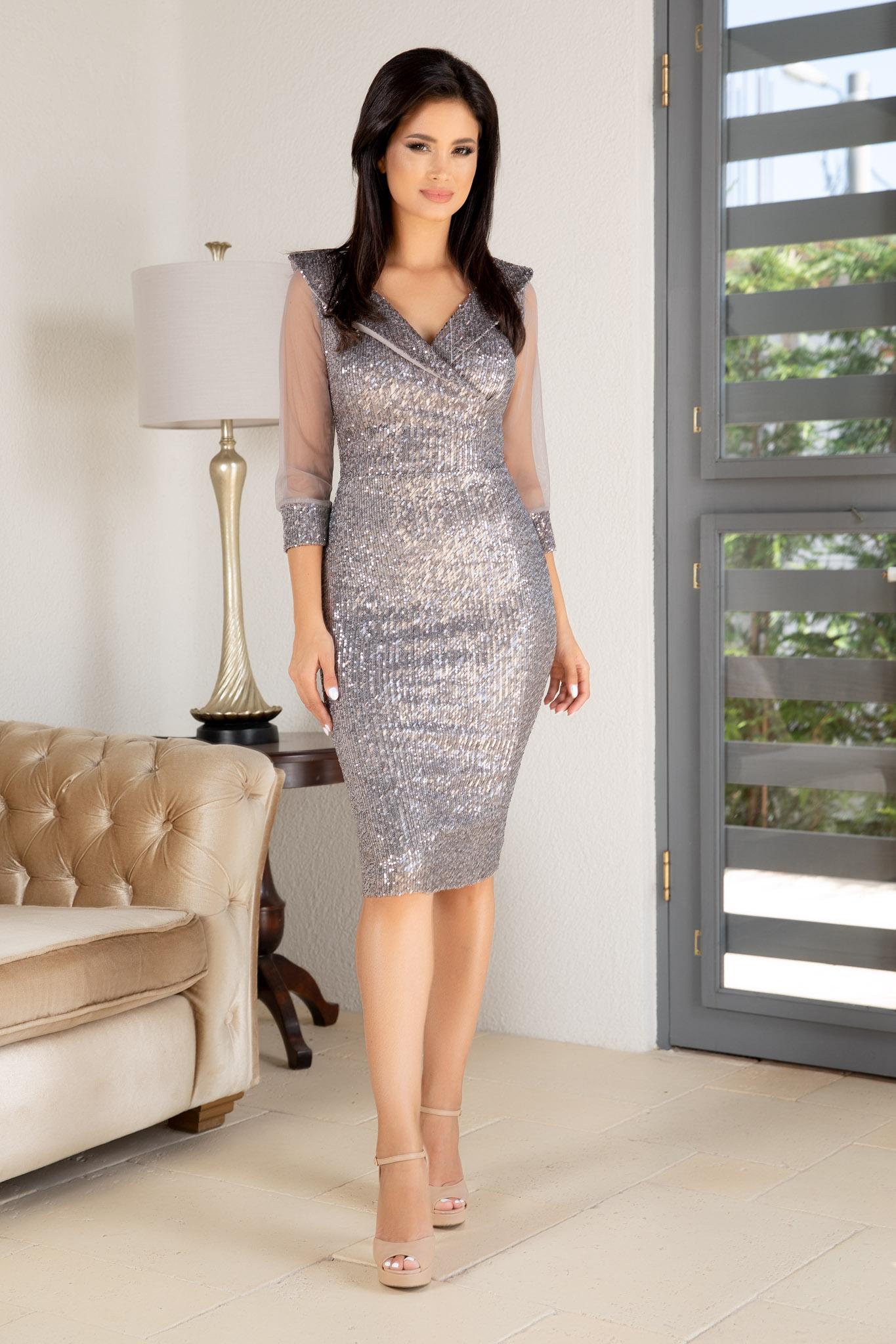 Rochie Jersey Argintie