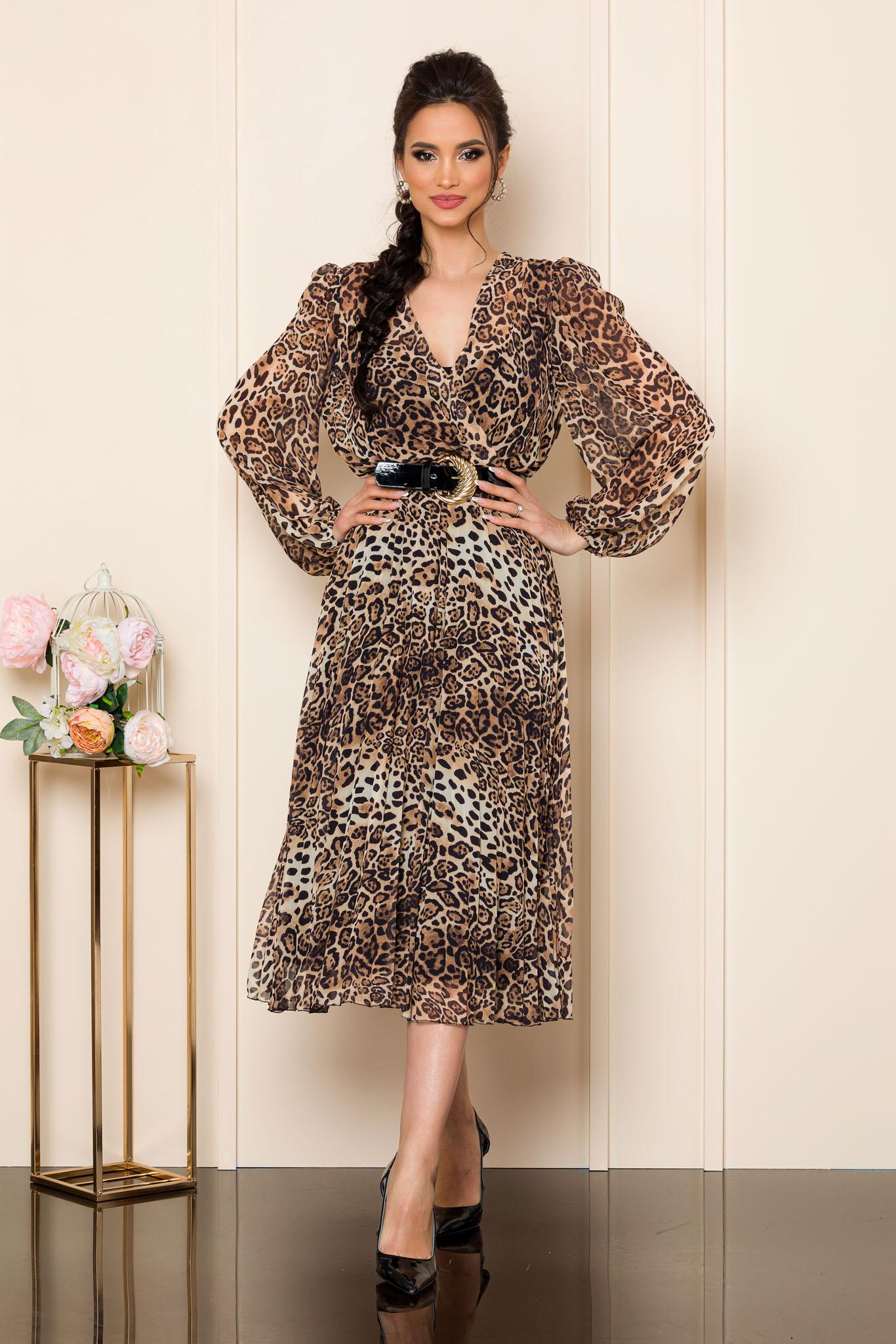 rochie midi eleganta din voal animal print 2