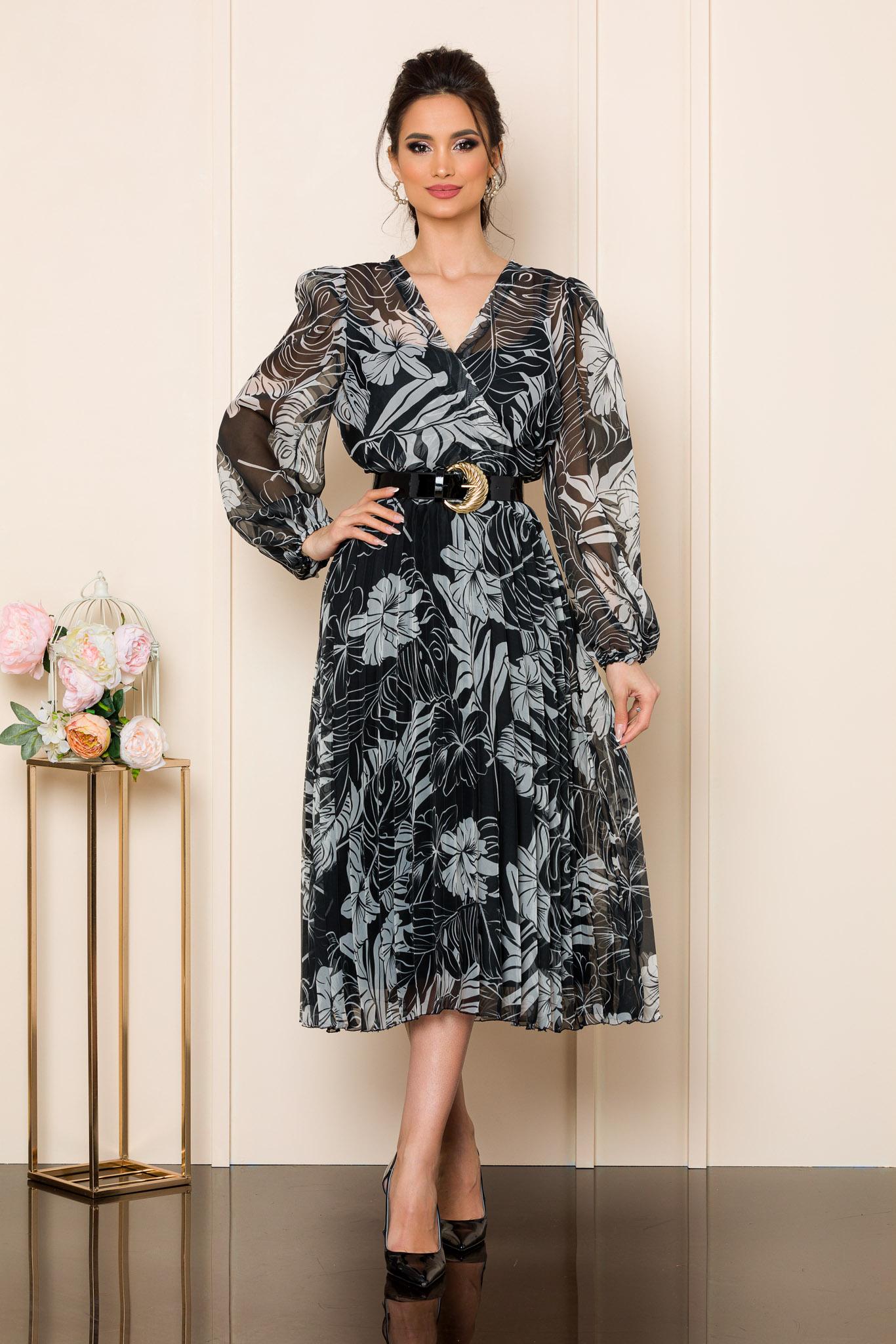rochie midi eleganta din voal cu imprimeu floral alb negru 2
