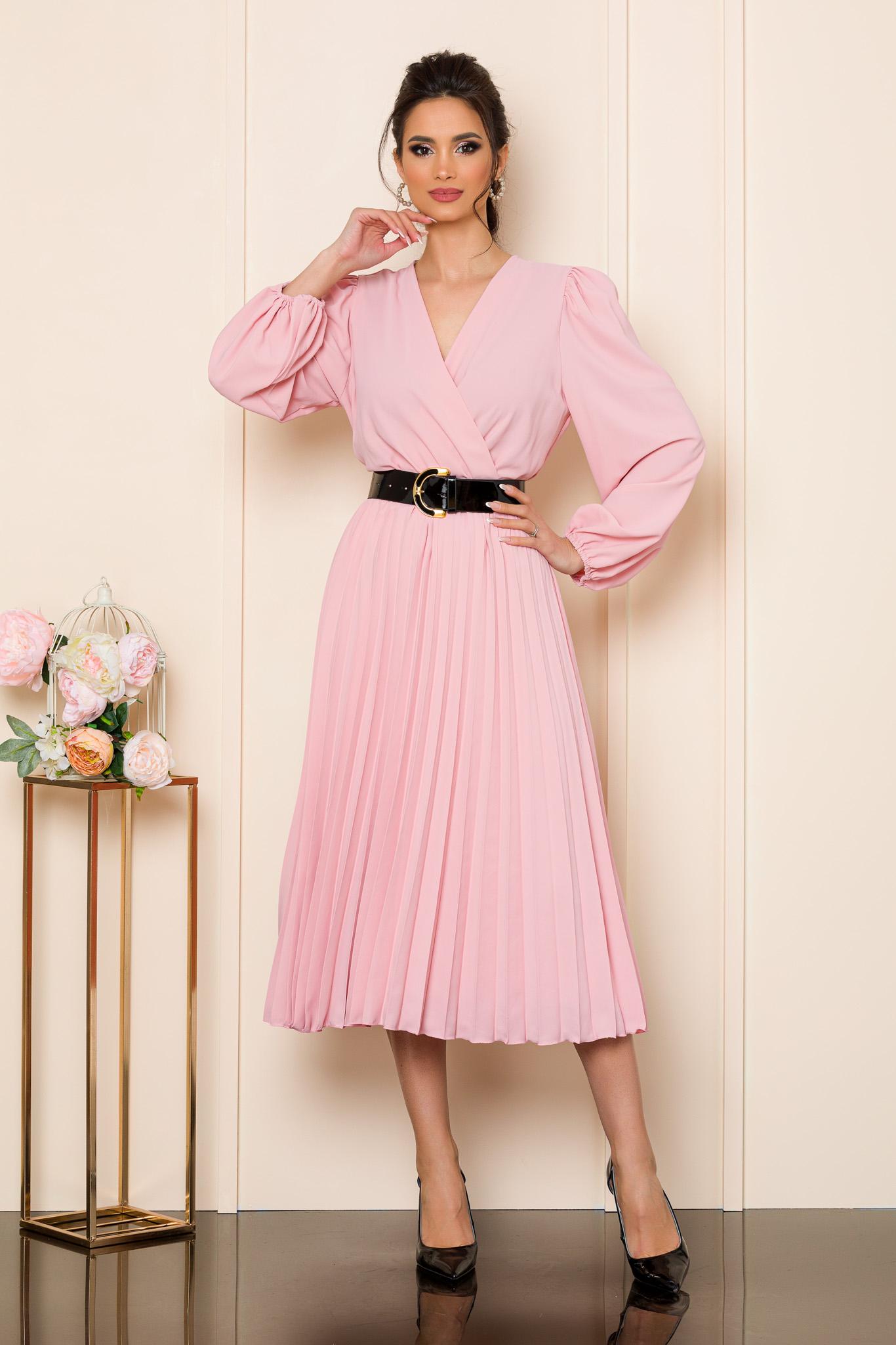 rochie midi eleganta roz cu pliuri 2