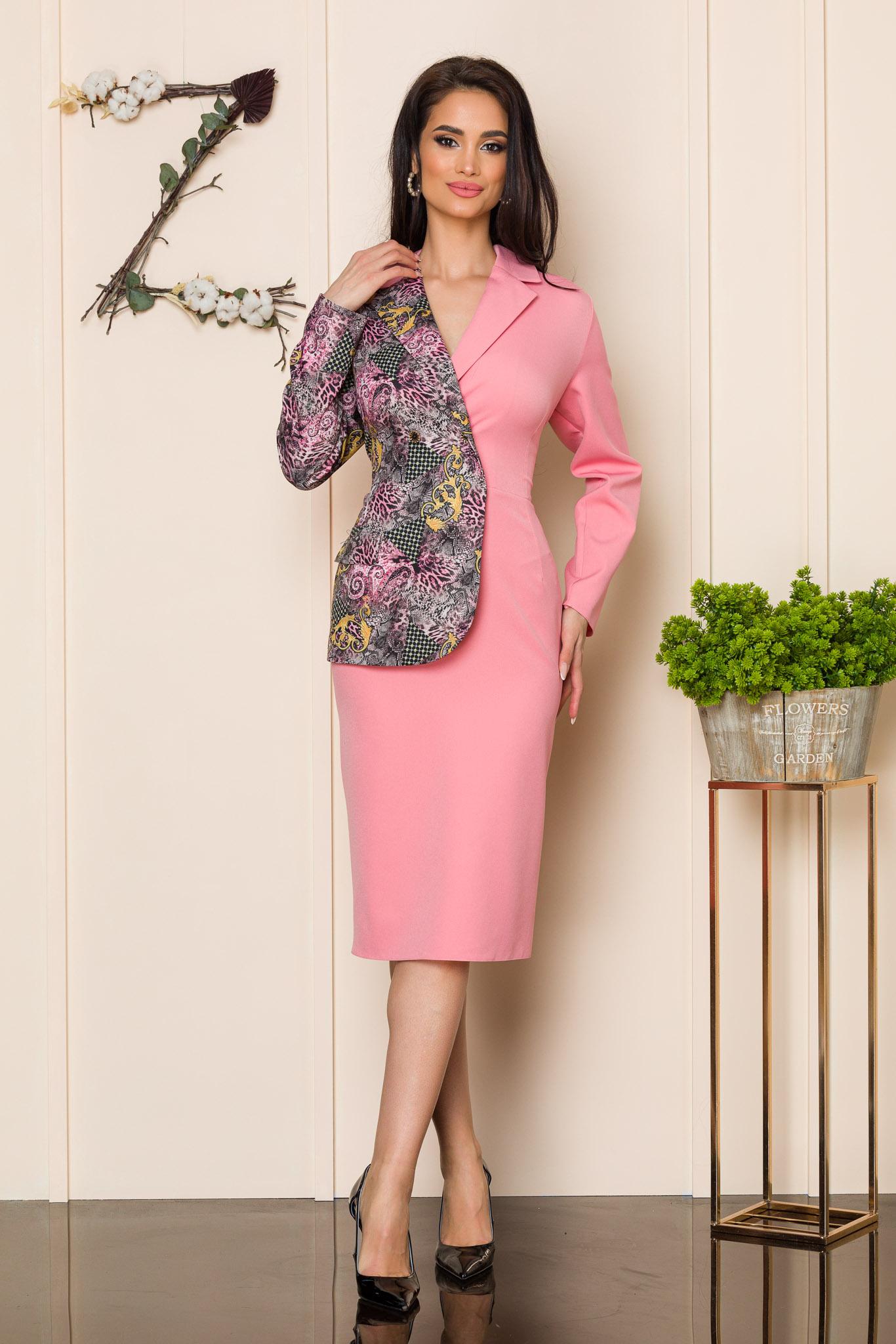 rochie midi roz eleganta 2 6