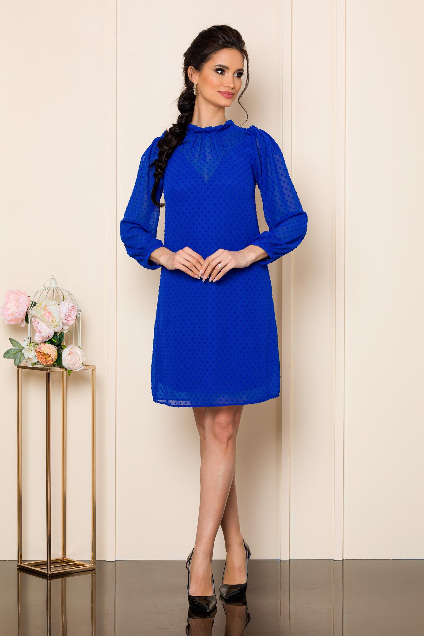 rochie scurta albastra din voal 2