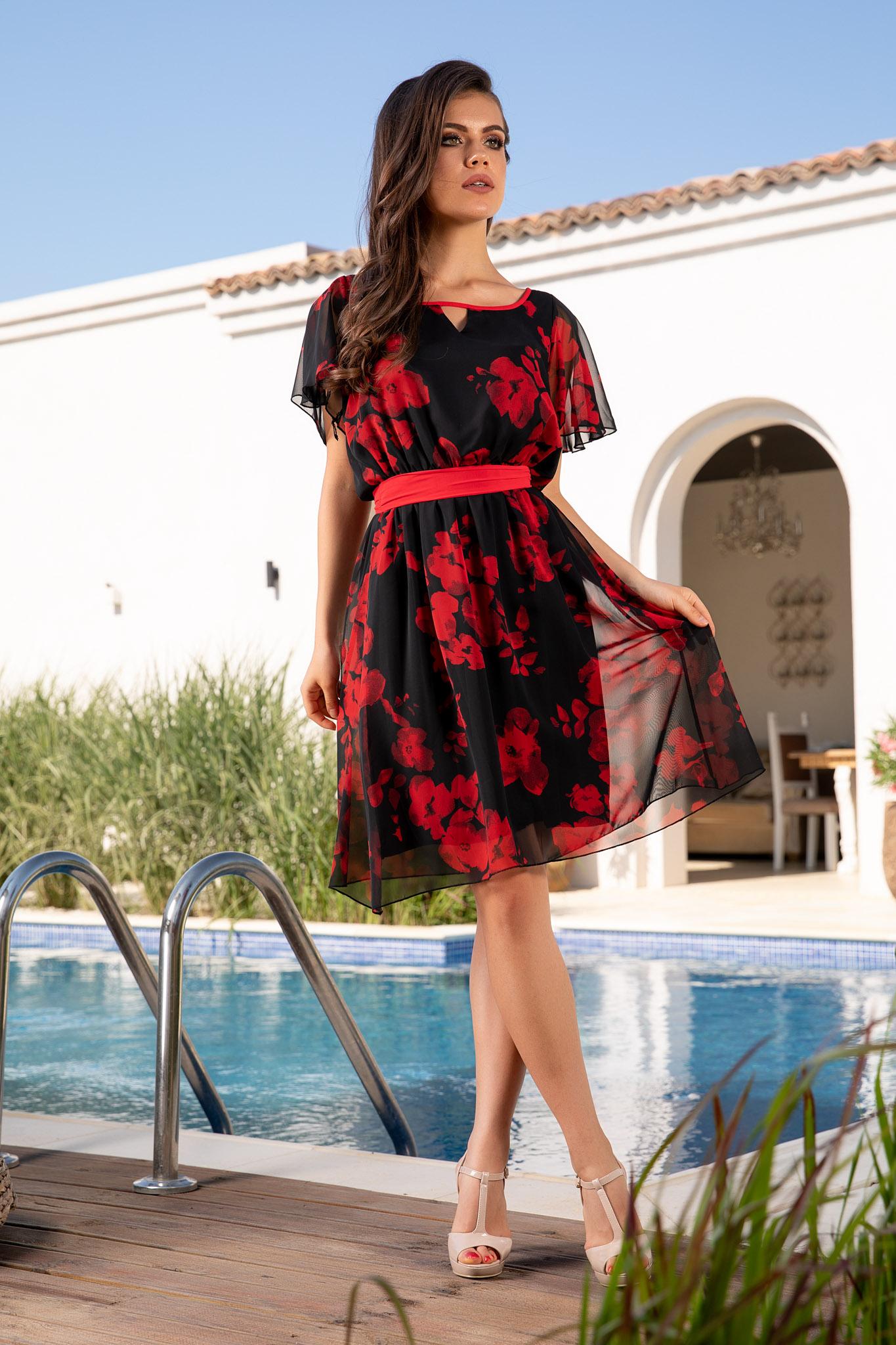 Rochie Enya Neagra - rochie scurta de vara din voal negru cu imprimeu rosu 3  - Rochie Enya Neagra