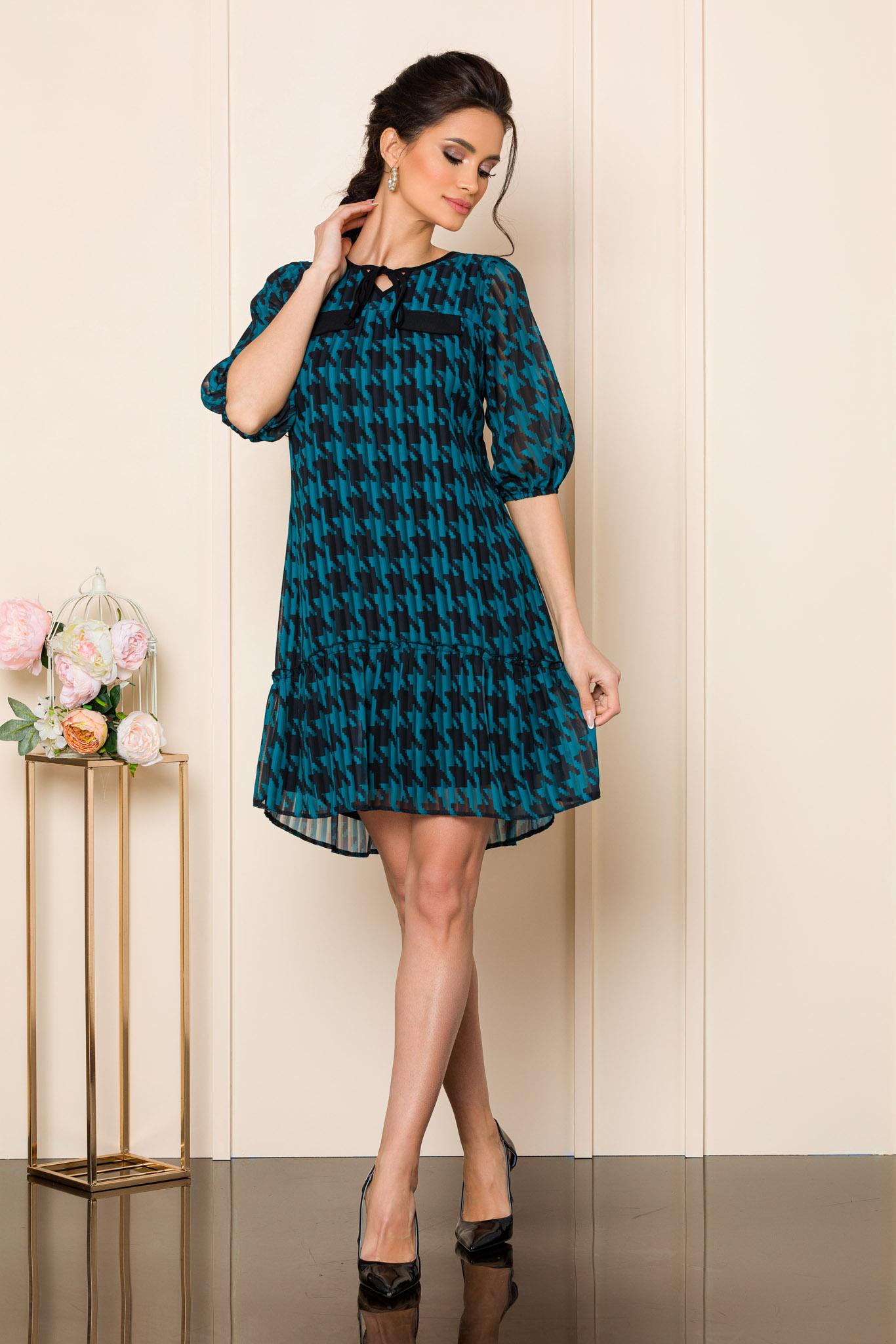 rochie scurta eleganta din voal cu imprimeu bicolor 2